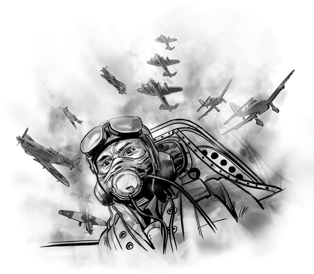 battle britain medal illustration pilot