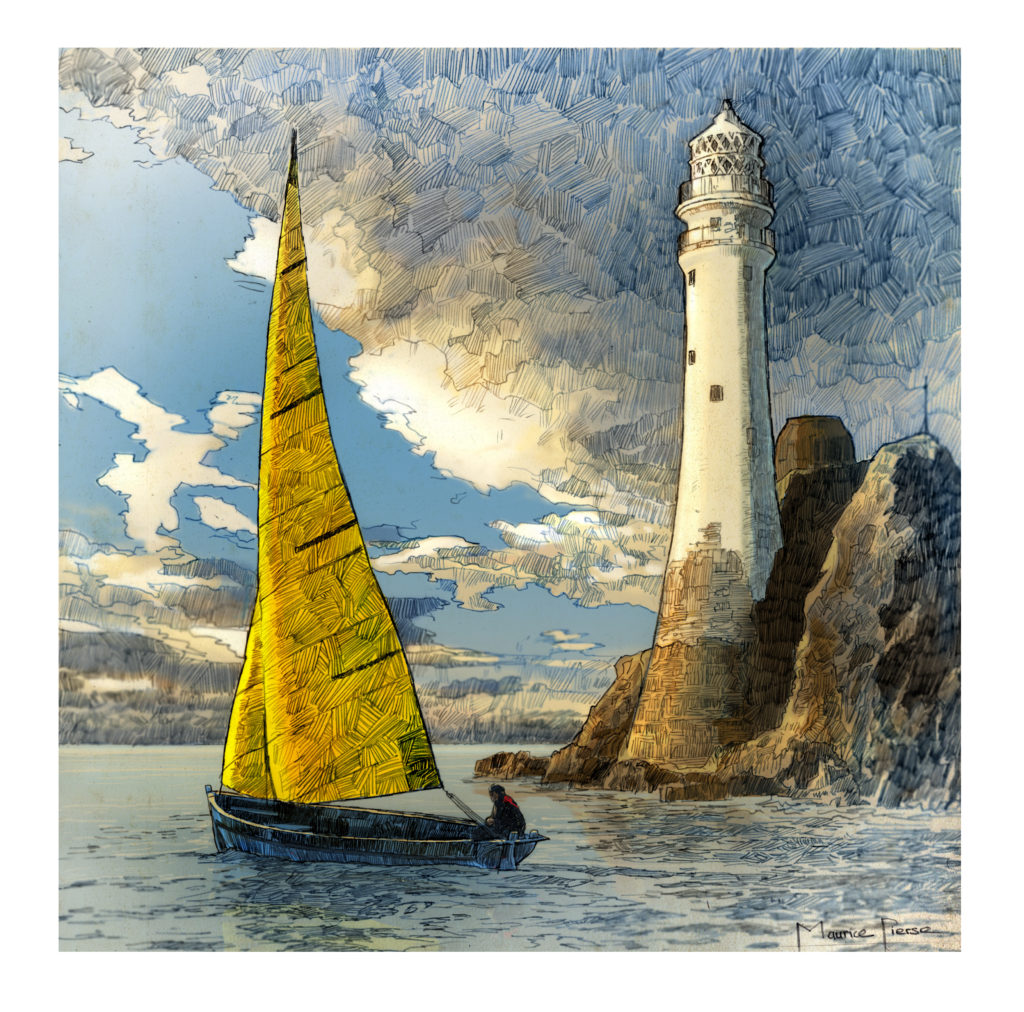 Fastnet rock lighthouse illustration for the wild atlantic way